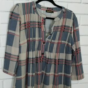 Reborn Pleated Plaid Top Size M